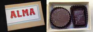 collage of alma peanut butter cup and salted caramel chocolates