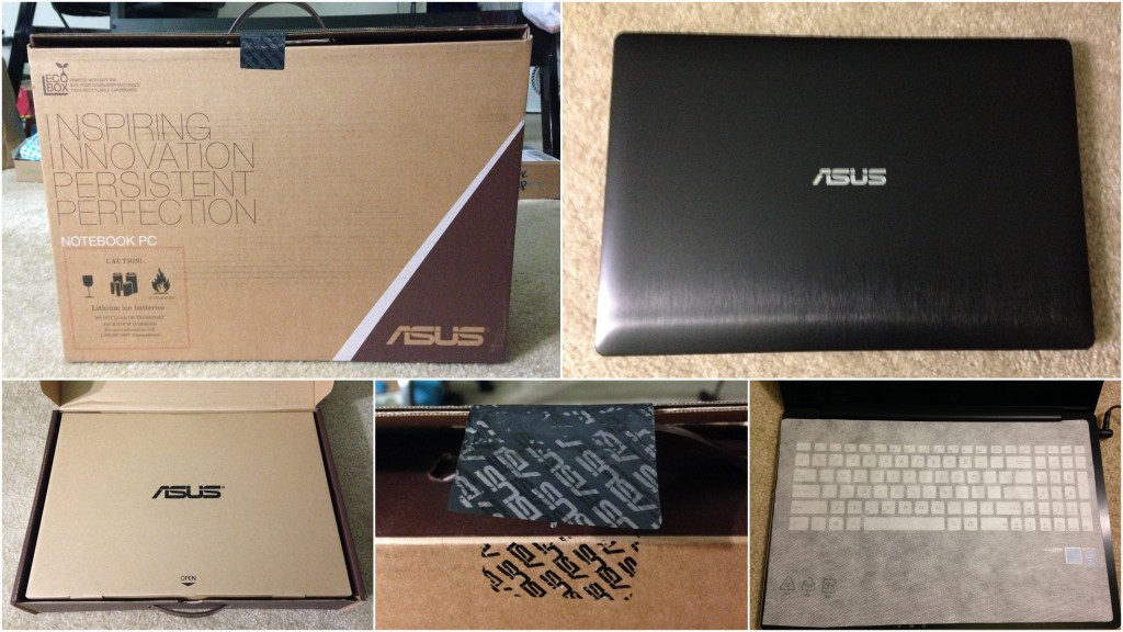 collage of asus black laptop including box and packaging