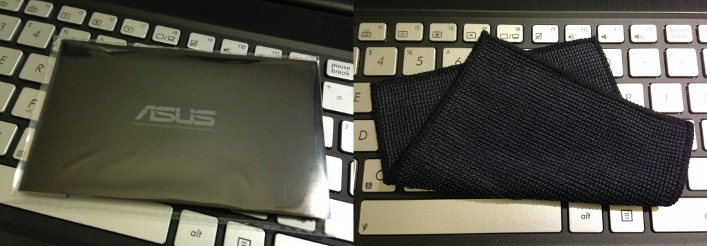 It came with a microfiber cloth to wipe off fingerprints!