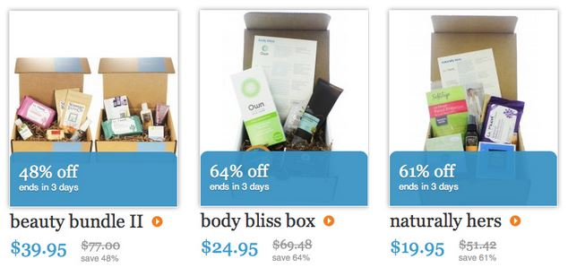 blissmobox spring sale box choices including beauty bundle ii, body bliss, and naturally hers