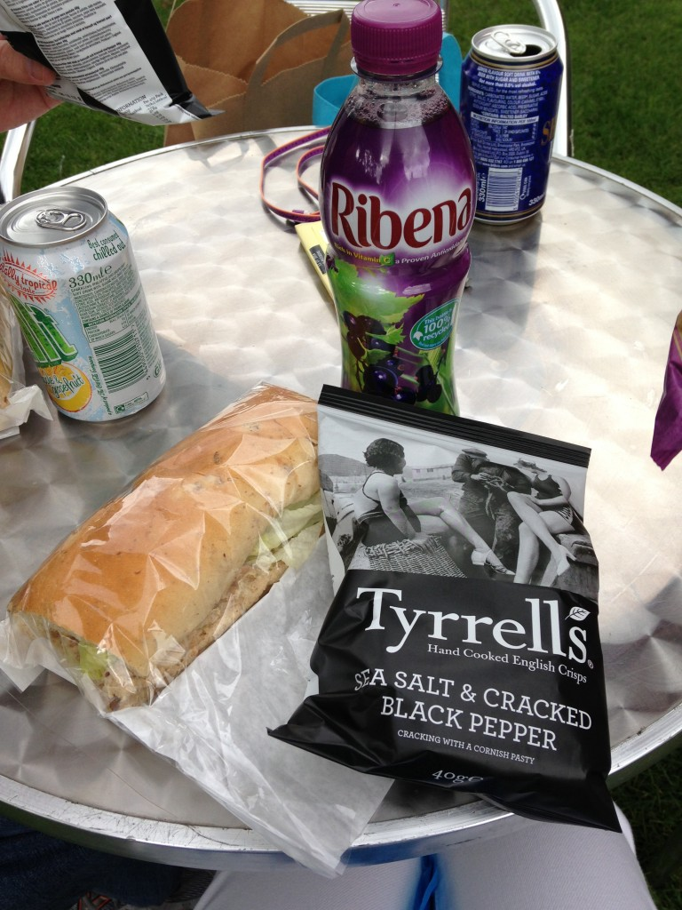 brown's of heslington sandwich, tyrrell's potato crisps, and ribena drink