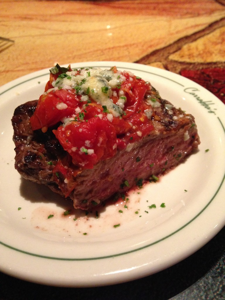 carrabbas bistecca ardente sirloin with roasted tomatoes sample