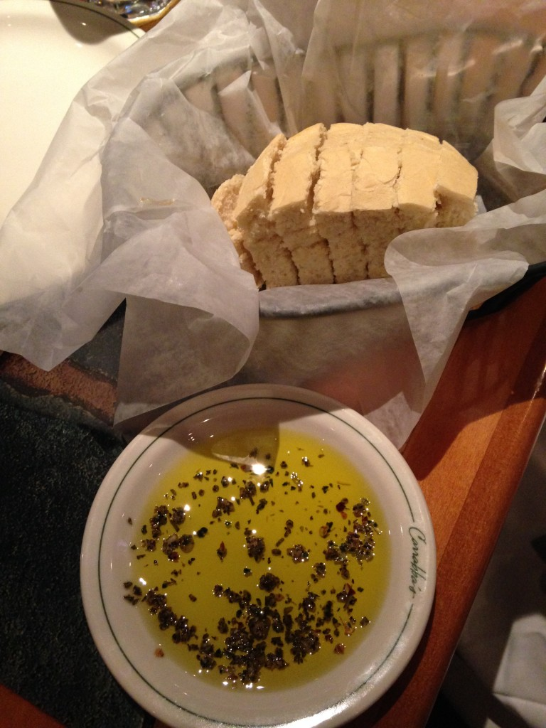 carrabbas bread and olive oil with cracked pepper