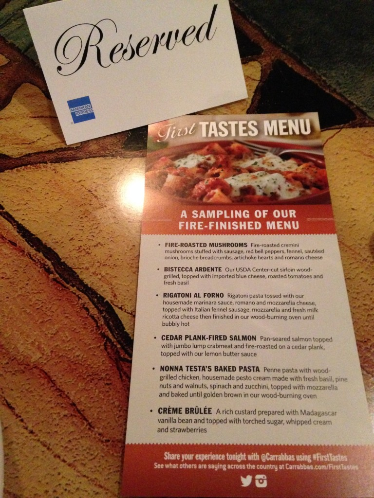 carrabbas fire finished first tastes event sampling menu with reserved sign on table