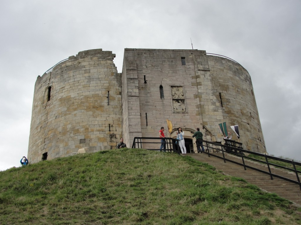 clifford's tower up on hill with stairs