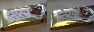 collage of craftmade toffee almond toffee with milk chocolate and craftmade toffee caramel corn toffee with milk chocolate