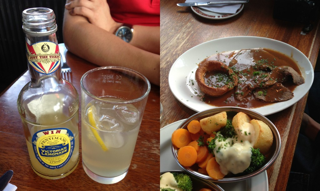 collage of gert & henry's food including lemonade and sunday roast