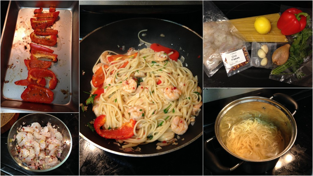 collage of hello fresh lemon-pepper shrimp scampi with roasted pepper over linguine ingredients and meal being cooked