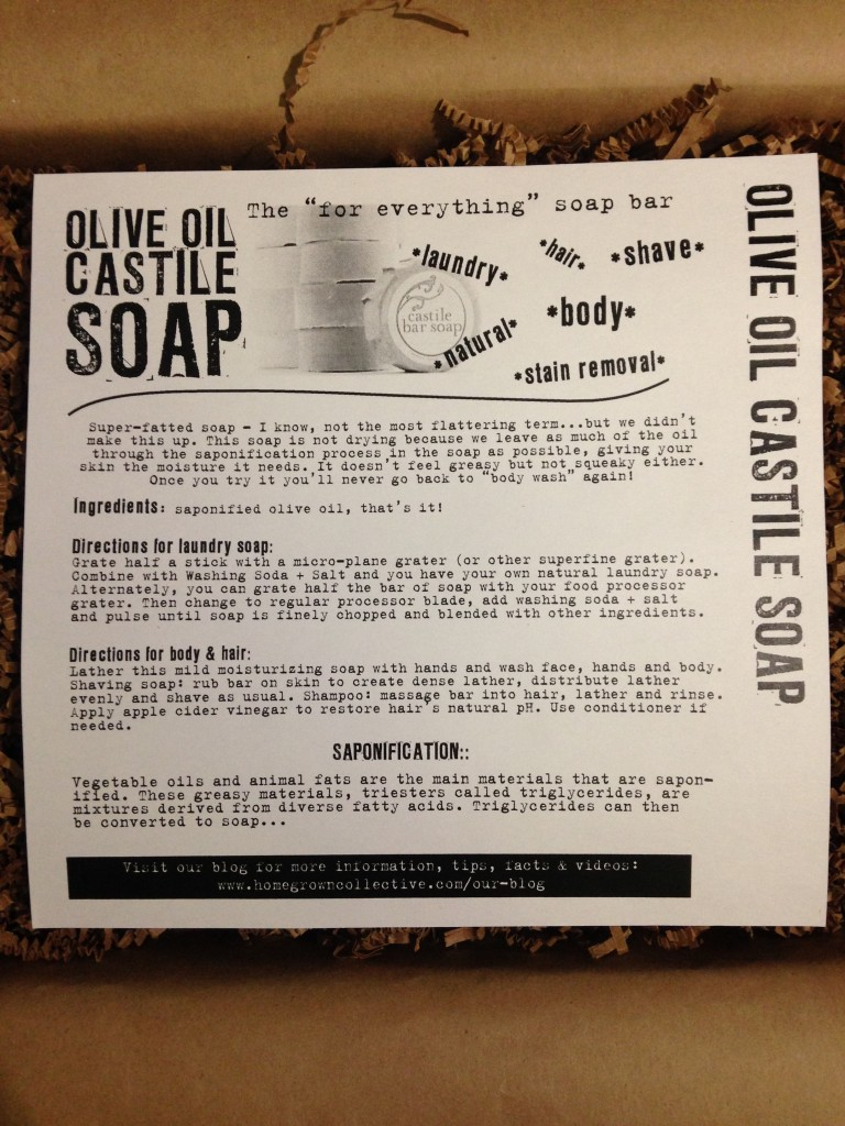the homegrown collective september 2013 project mixing olive oil castile soap info card