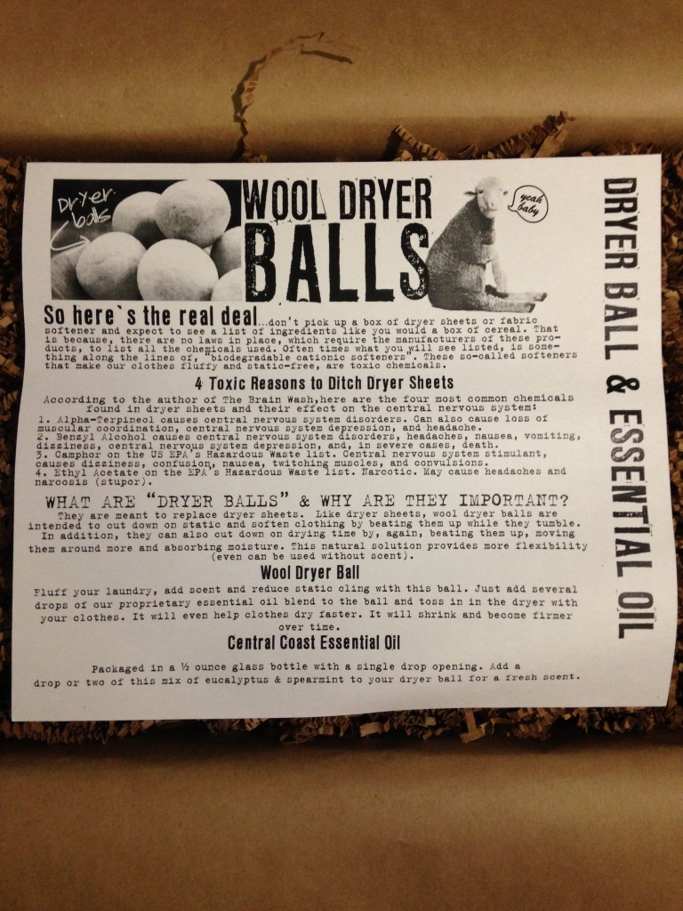 the homegrown collective september 2013 project using wool dryer ball and essential oil info card