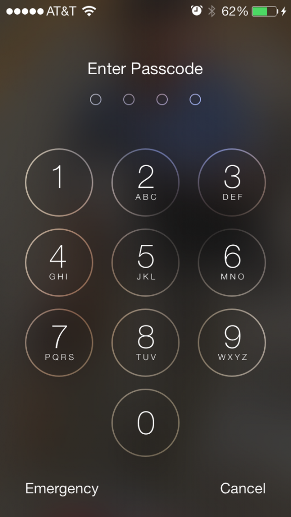 ios 7 lock screen with new keypad design
