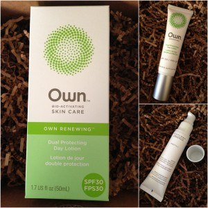 collage of own bio-activating skin care renewing dual protecting day lotion with spf 30