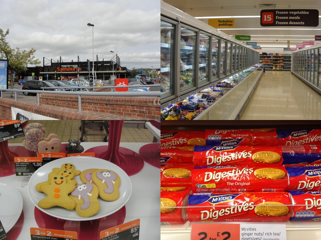 collage of sainsbury grocery store and products inside
