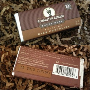 collage of scharffen berger extra dark chocolate bar