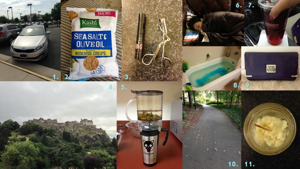 collage of september 2013 favorites including kia optima car, kashi hummus crisps, mascara and eyelash curler, edinburgh castle, teavana perfectea tea brewer, sherpa blanket, dunkin donuts iced tea, bathtub with bath salts, biba purse clutch purse, walking trail, and sugar scrub