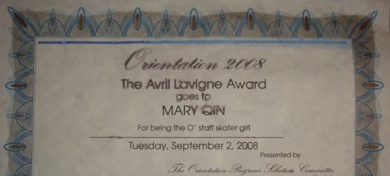 top half of certificate for the avril lavigne skater girl award