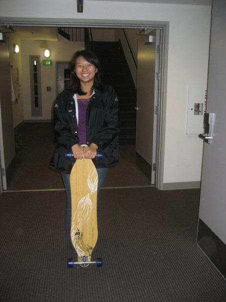 standing with brand new loaded boards bamboo skateboard