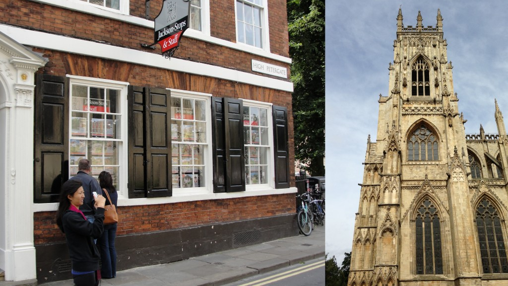 collage of person taking picture of york minster and photo taken of york minster