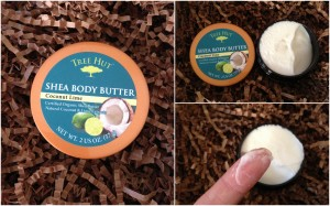 collage of tree hut coconut lime shea body butter