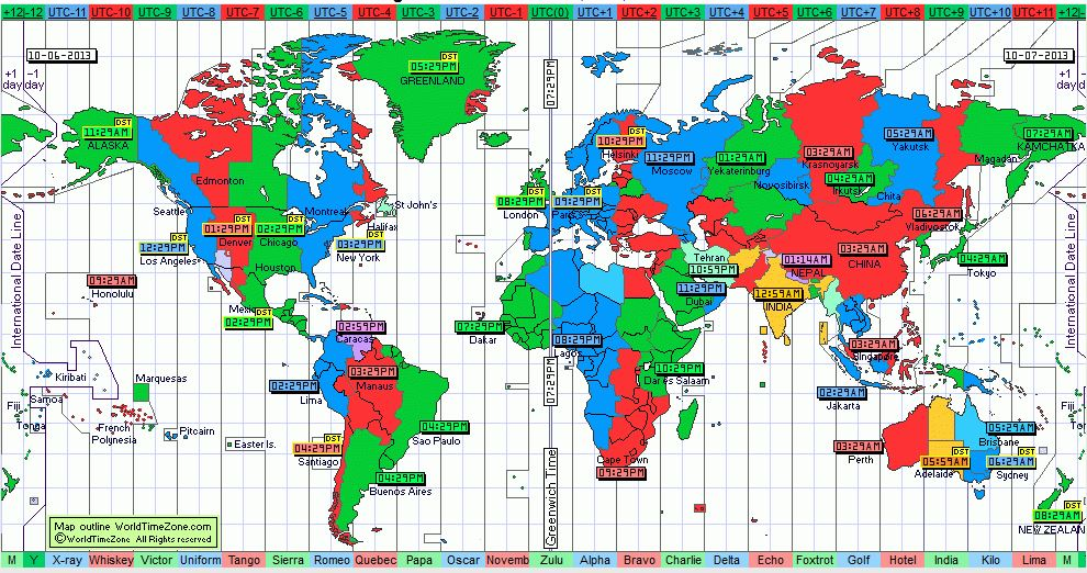 map of world time zone breakdowns
