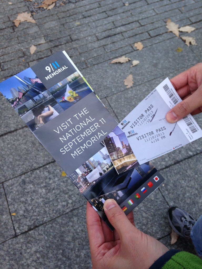 9/11 memorial brochure and tickets