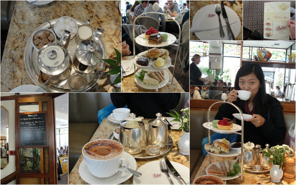 collage of betty's tea room afteroon tea set