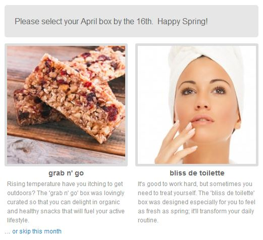 the choices for april's blissmobox: grab'n'go and bliss de toilette