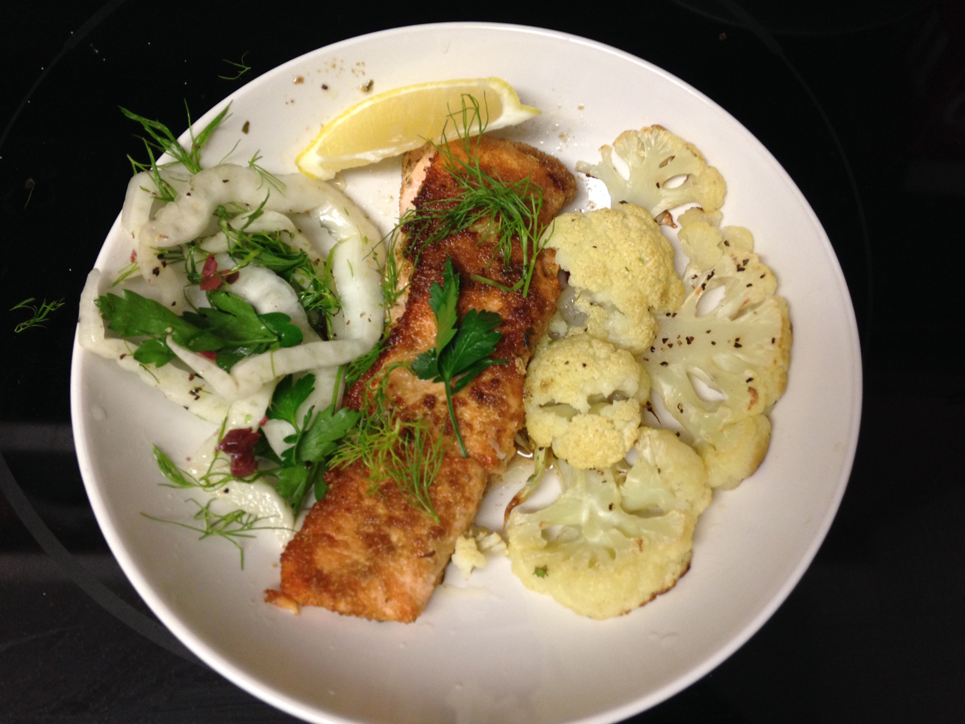 Blue apron salmon - Blue Apron Salmon With Fennel Two Ways And Cauliflower Steak Finished Product