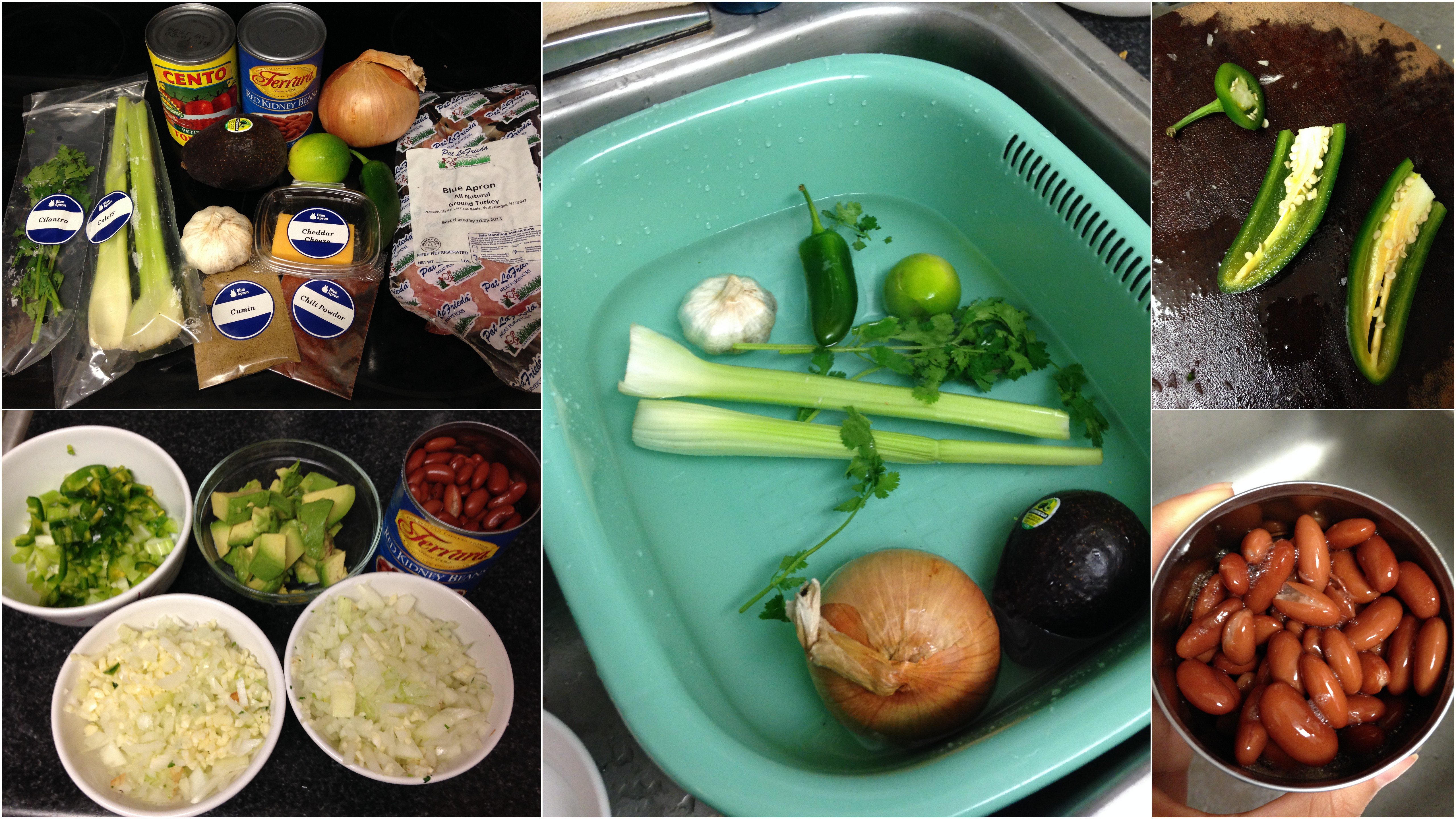 Blue apron reviews - Collage Of Blue Apron Turkey Chili Vegetable Ingredients