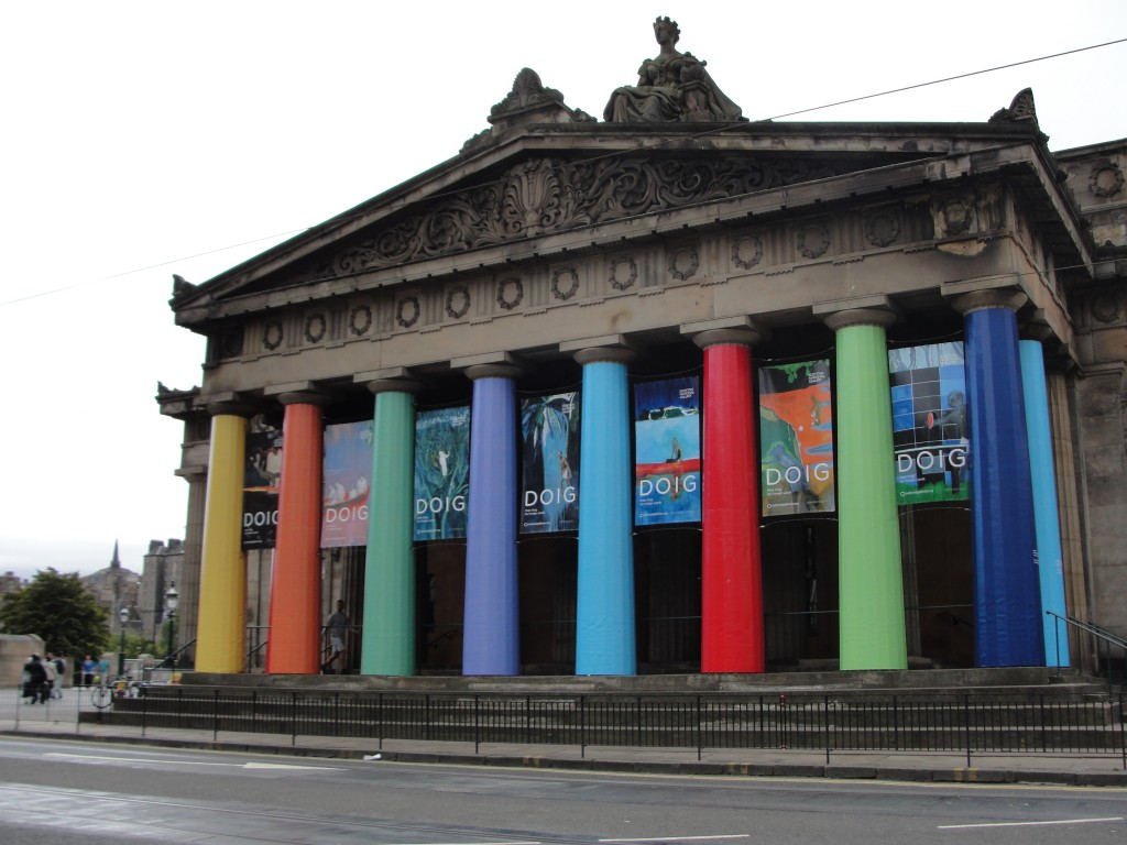 rainbow colored columns of building in edinburgh