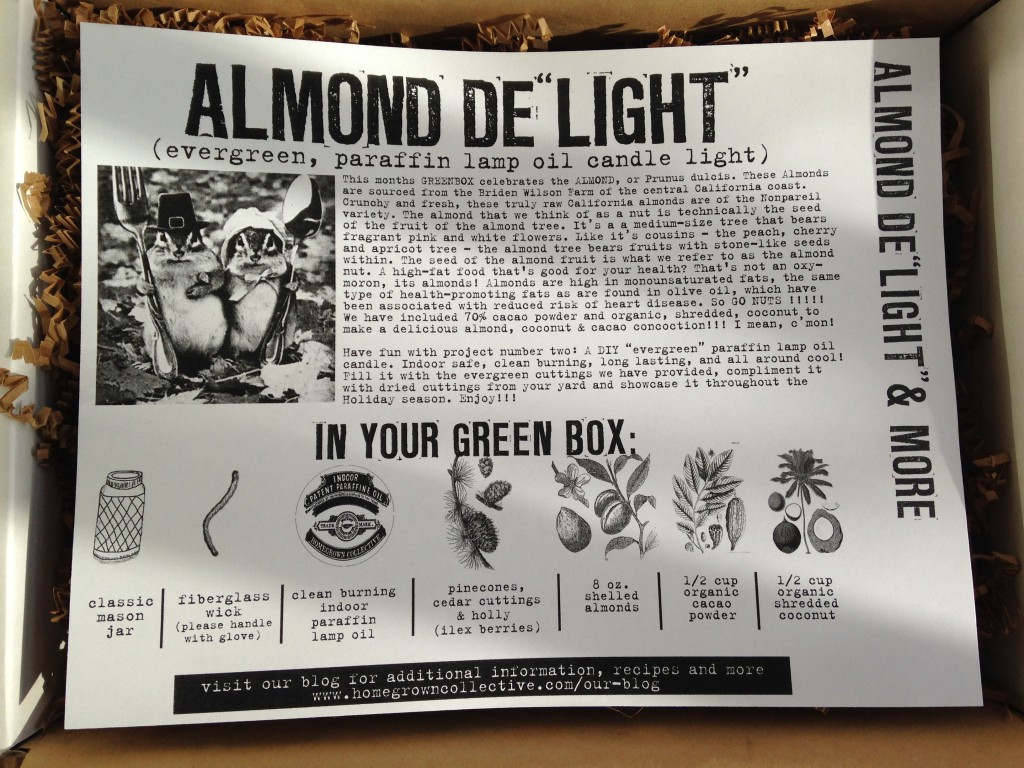 "the homegrown collective november 2013 almond de""light"" info card"