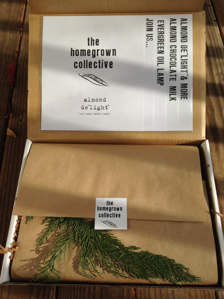inside of homegrown collective box with the info sheets on the inner lid, sprig of evergreen cutting, and white homegrown collective sticker on brown paper wrapping