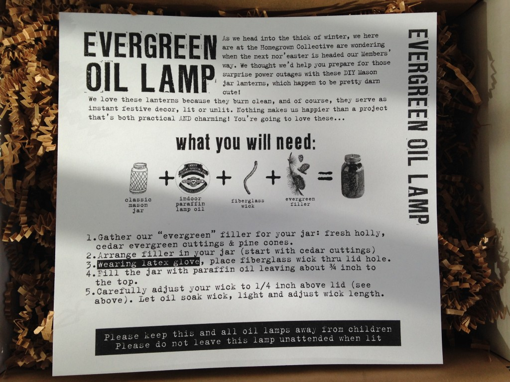 the homegrown collective november 2013 project evergreen oil lamp info card