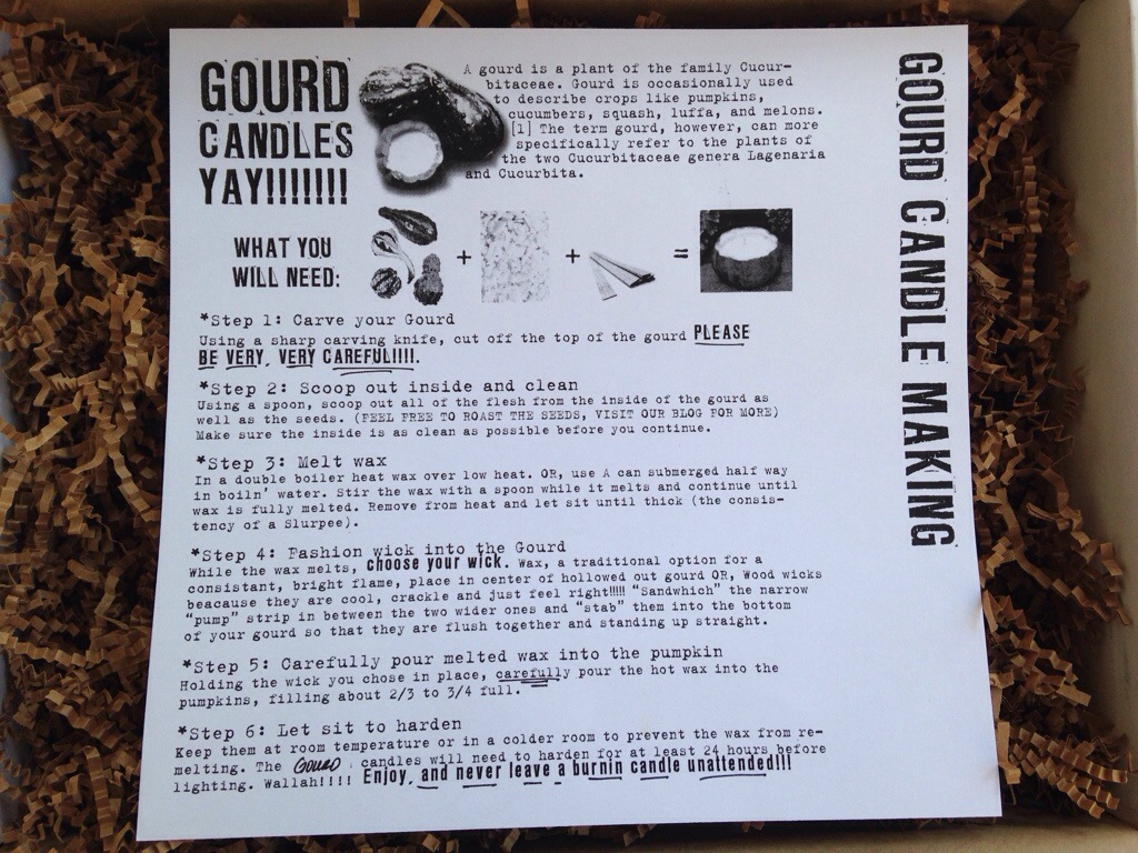 the homegrown collective october 2013 project gourd candle making info card