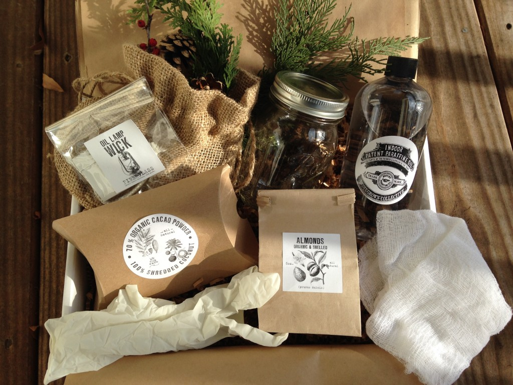 "contents of the homegrown collective november 2013 box with almond de""light"" theme"