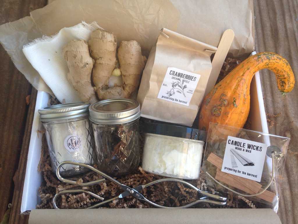 contents of the homegrown collective october 2013 box with harvest feast theme