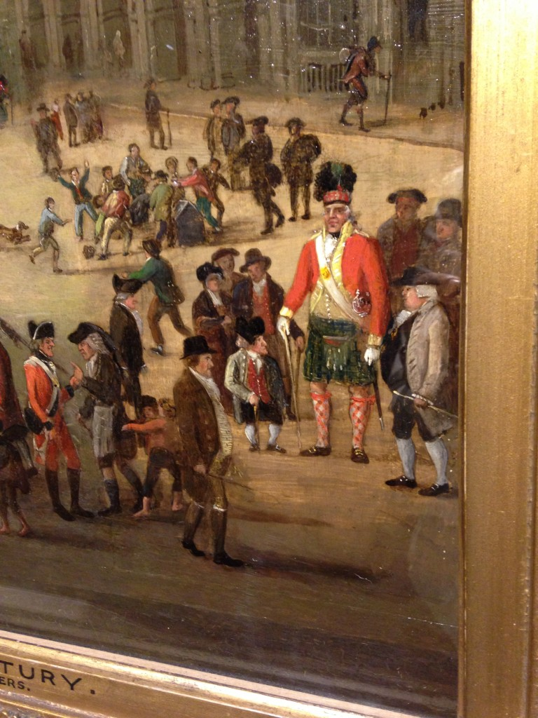 painting in museum of edinburgh with midget man standing next to towering giant