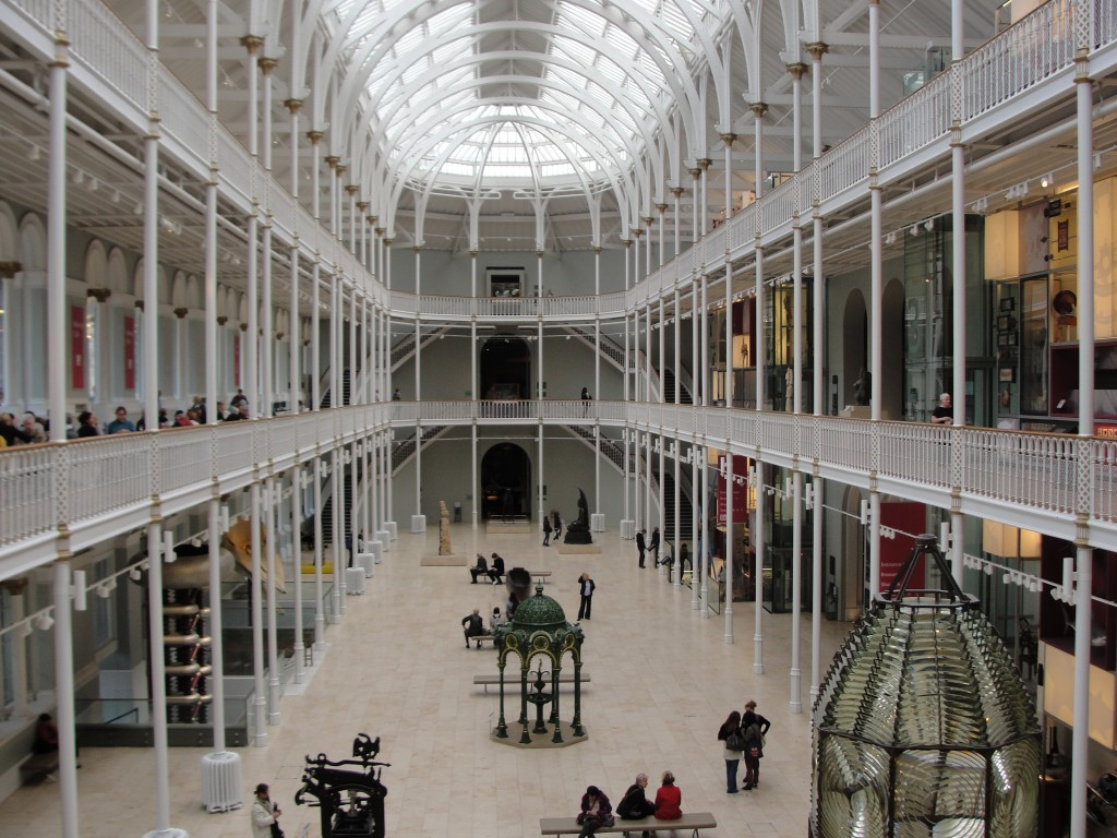view of giant three story room in museum of scotland