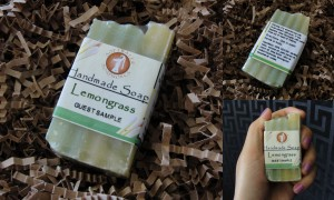 collage of softwater soapworks lemongrass soap included in april 2013 blissmobox