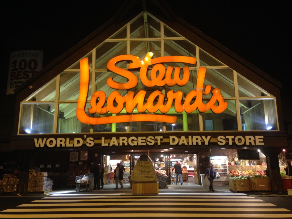 stew leonard's world's largest dairy store storefront at night