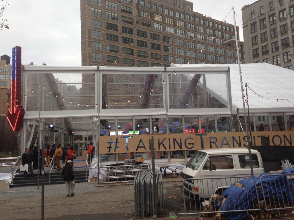 large talking transition tent set up in new york city