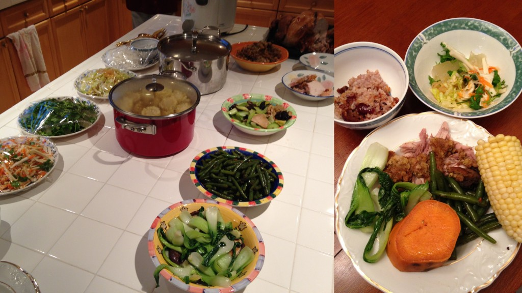 collage of thanksgiving meal laid out and dishes with food