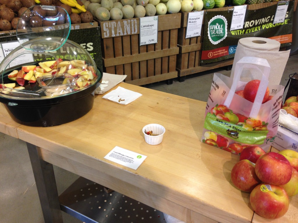 free samples of sliced honey crisp apples at whole foods
