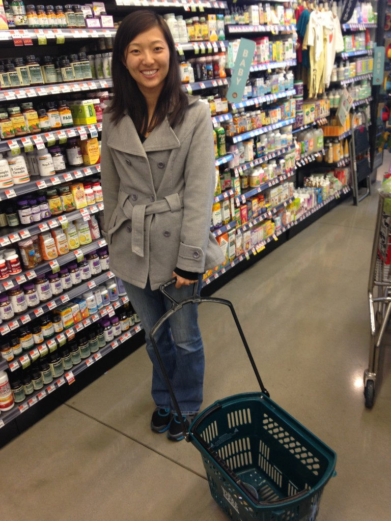 holding cart basket with wheels at whole foods