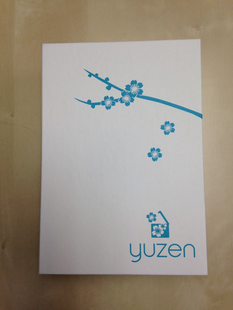 new yuzen interior box in rectangular shape with aqua flowers on white background