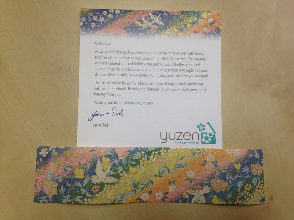yuzen winter 2013 box info card and matching chioyami paper