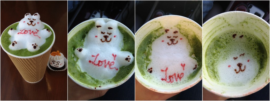 collage of 3d bear latte art design on green tea drink at love to go as the drink went down and the art disappeared