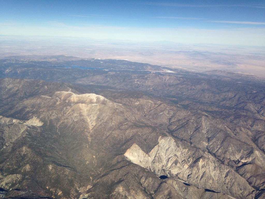 aerial view of big bear region with big bear lake in distance