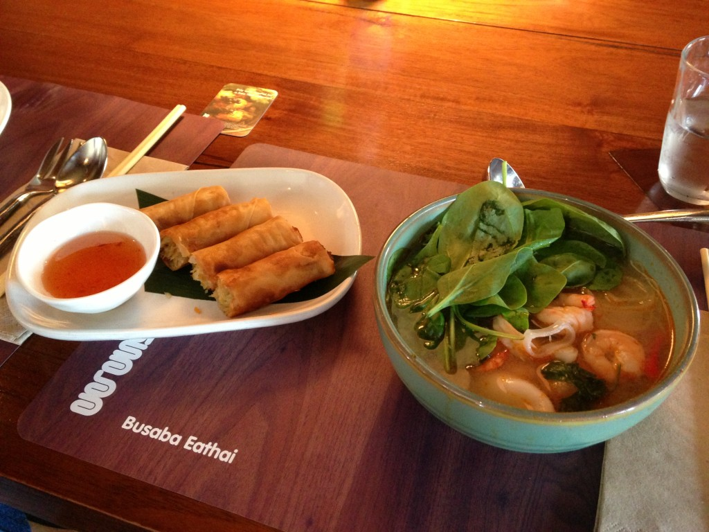 spring rolls and noodle soup at busaba eathai restaurant