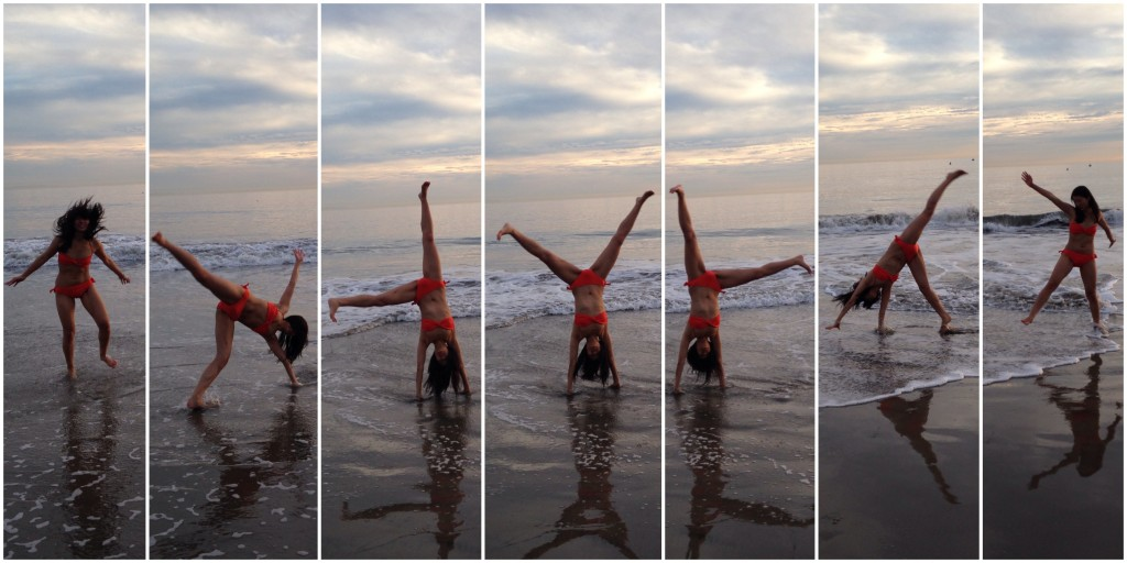 collage of girl in orange bikini doing cartwheel at beach by ocean
